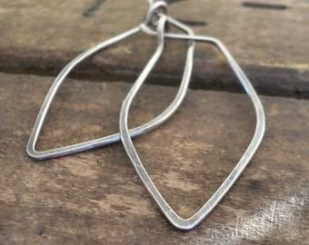 Leaf Hoops - Handmade. Handforged. Oxidized Sterling Silver Hoop Earrings