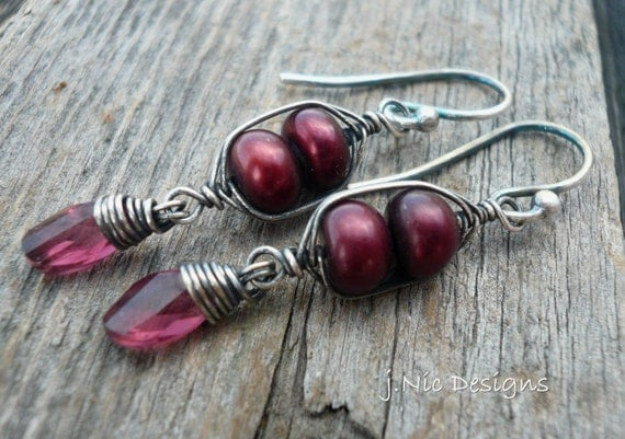 Cranberry Wine Earrings - Garnet, Freshwater Pearls, Oxidized, Wire Wrapped Sterling Silver