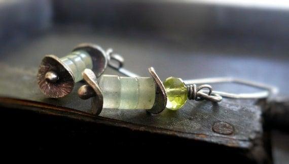 Lichen Earrings - Green Aventurine, Peridot, Oxidized Sterling Silver
