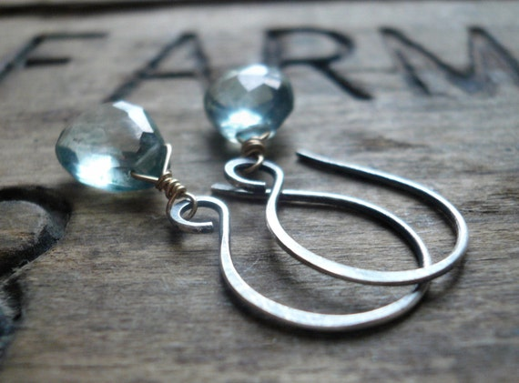 Vivacity Mixed Metal Earrings - Handmade. Green or Blue Topaz. 14kt Goldfill. Oxidized Sterling Silver