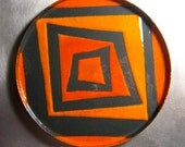 Ready to Ship: Mod Squad Squares Round Enamelware Dish or Coaster, Kiln-Fired Glass Enamel on Copper, Orange and Charcoal Gray