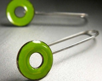 Lifesaver Drop Earrings, Lime Green Kiln-Fired Glass Enamel and Sterling Silver
