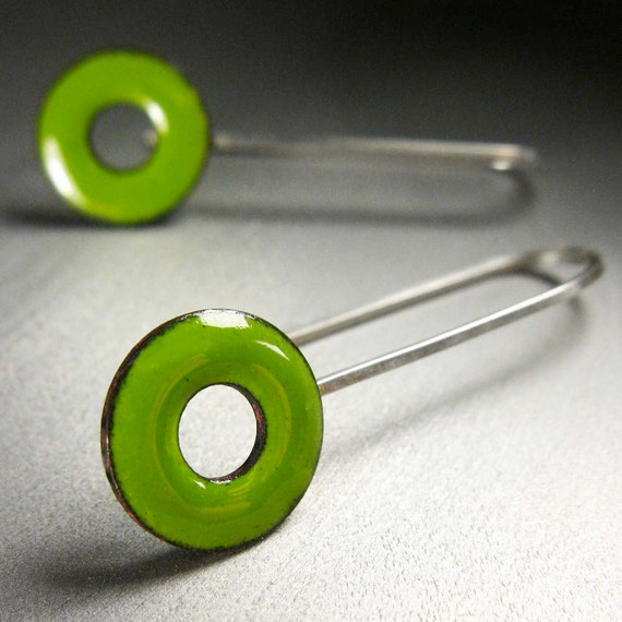 Lifesaver Drop Earrings, Lime Green Kiln-Fired Glass Enamel and Sterling Silver