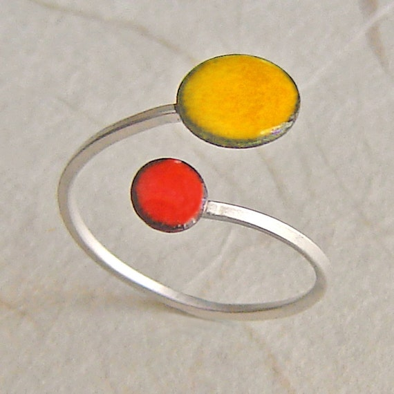 Saffron and Mandarin Orbit Ring, Adjustable Size, Kiln-fired Glass Enamel and Sterling Silver