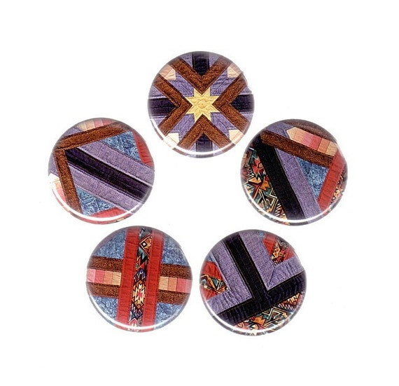 Quilt Magnets - Colorful Patchwork Patterns - Set of 5