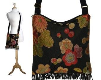 Bohemian Purse Gypsy Fringe Bag Slouch Hobo Bag Hippie Purse Shoulder Bag Zipper - Asian Blossom Tapestry bag MTO