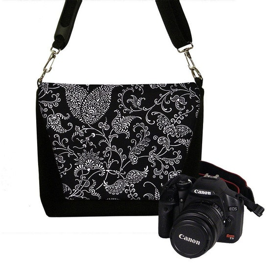 Deluxe DSLR Camera Lens Bag Case zipper pocket more padding - Pretty Paisley - INSTOCK