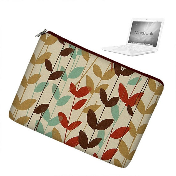 Laptop Sleeve 13 inch MacBook Case Apple MacBook Pro 13 Case zipper padded - Stems Brown Spa Blue Cinnabar Red - In Stock