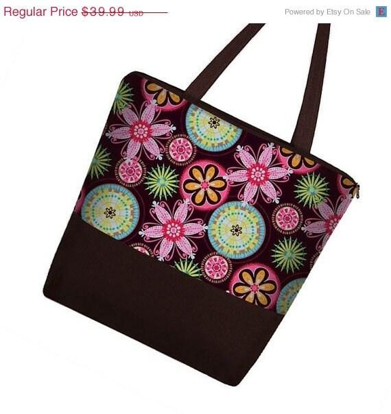 ON SALE Large Tote Diaper Bag Book Bag purse zipper pockets - Carnival Pink Brown -  InStock