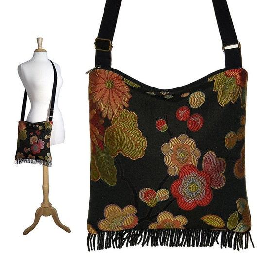 Bohemian Purse Gypsy Fringe Bag Slouch Hobo Bag Hippie Purse Shoulder Bag Zipper - Asian Blossom Tapestry bag RTS