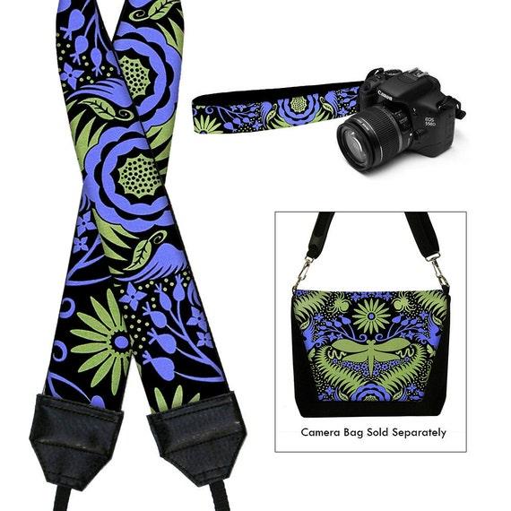 DSLR Camera Strap SLR Digital Camera Padded Strap Nikon Canon - Deco Dragonfly purple green black - In Stock