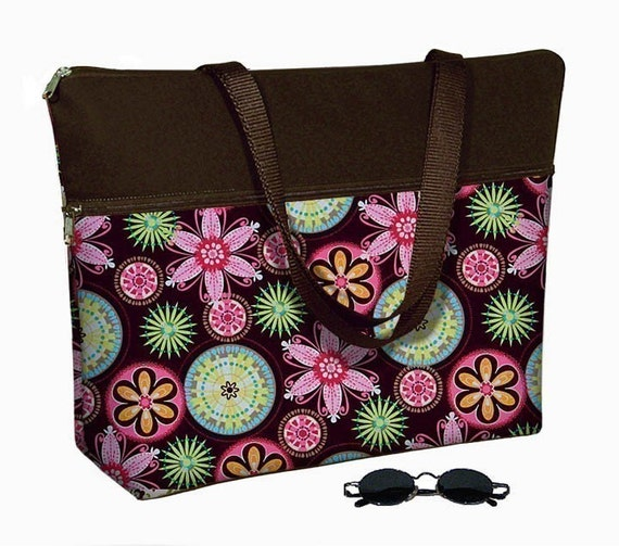 Laptop Tote Bag padded case fits up to 17 inch PC - Carnival Pink Brown - In Stock