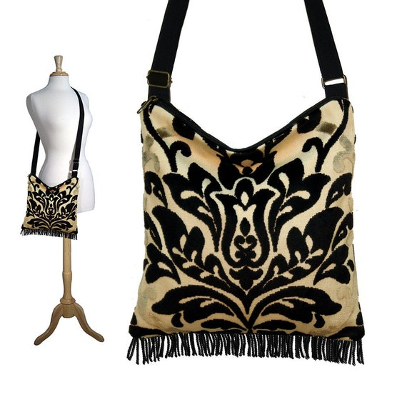 CLEARANCE Bohemian Gypsy Fringe Bag Purse with adjustable strap - Tapestry Chenille Medallion (RTS)