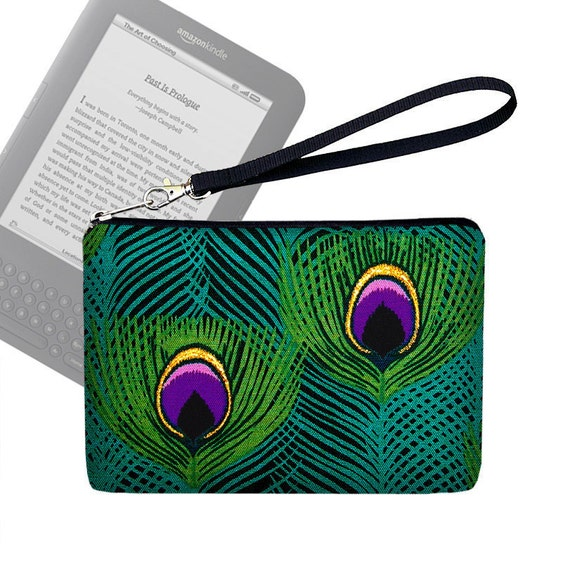 RTS SALE - Kindle Cover, Peacock Kindle Fire Case, Kindle Case, Kindle Fire HD, Kindle Fire Cover, Wristlet Clutch Purse, blue green