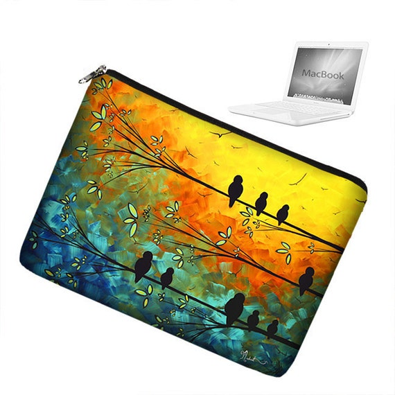 CLEARANCE Laptop Sleeve 13 inch MacBook Laptop Bag Apple MacBook Pro 13 Laptop Case zipper padded - Birds of a Feather  MadArt (RTS)