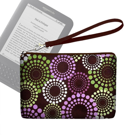 Kindle Case / Kindle 3 Cover / Kindle Fire Case / Nook Cover /  Kobo Case / Padded eReader Case  - Purple Green Brown - In  Stock