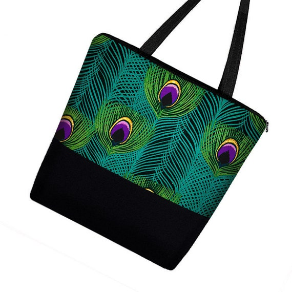 CLEARANCE Large Tote Bag Purse /  Diaper Bag / Cute Cotton Tote Bag / Zippered Canvas Tote / Teacher or Work Tote - Peacock Feathers (RTS)