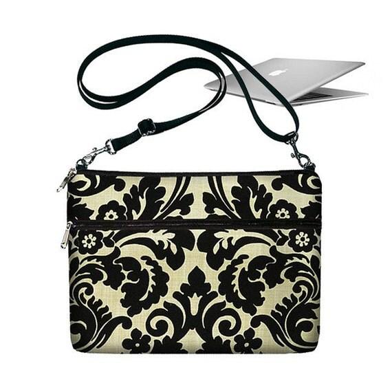 CLEARANCE  11 inch MacBook Air Sleeve Bag Case Crossbody Shoulder Bag Zipper Padded Black - Essence Damask (RTS)