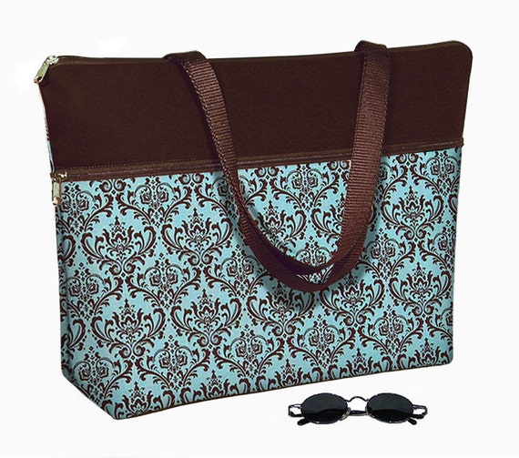 Laptop Tote Bag padded case fits up to 17 inch PC - Madison Damask blue brown - In Stock