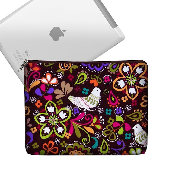 CLEARANCE iPad Case Ipad Bag iPad Cover iPad Sleeve Ipad 4 3 2 1 zippered padded   - Birds of Norway Brown colorful cute (RTS)