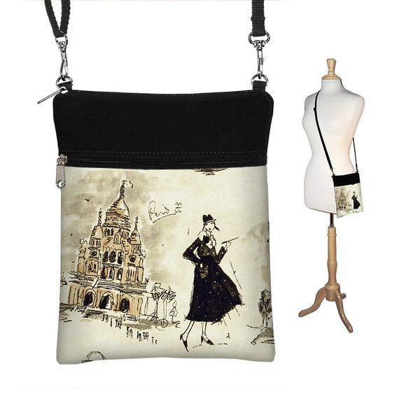 SALE Small Cross Body Purse Sling Bag Shoulder Purse handbag Fits eReaders Paris Eiffel Tower Black White (RTS)