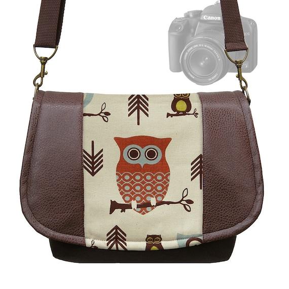DSLR Camera Bag Slr Camera Messenger Bag  Vegan Brown Leather Cute Owl Zipper Padded Deluxe Model - In Stock