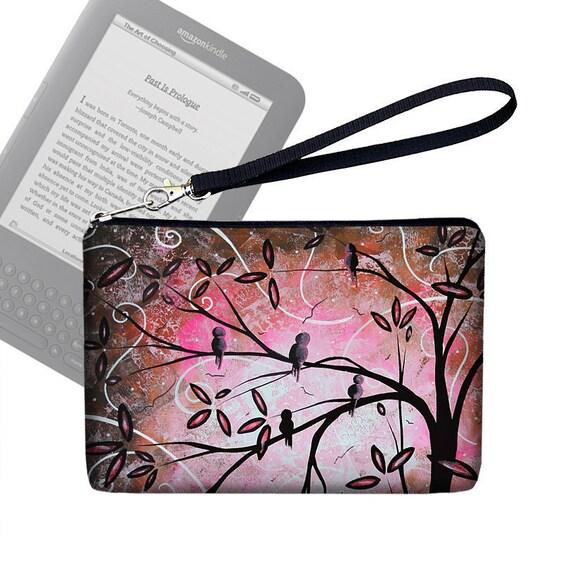 Kindle Case / Kindle 3 Cover / Kindle Fire Case / Nook Cover /  Kobo Case / eReader Case  -  Pink Cherry Blossom Birds MADART - In Stock