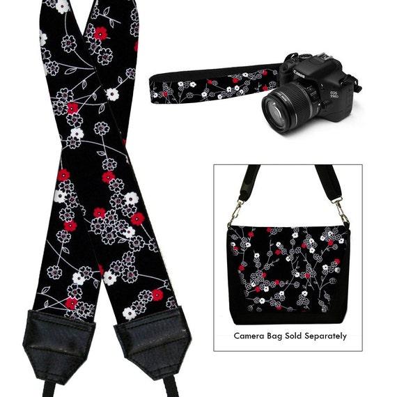 Dslr Camera Strap SLR Digital Camera Padded Strap Nikon Canon - Tiny Cherry Blossom black white red RTS