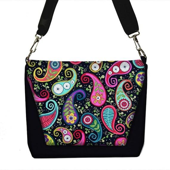 CLEARANCE  Last One!  Digital Slr Camera Bag Dslr Camera Bag Purse Womens Camera Bag Case - Funky Paisley black colorful (RTS)