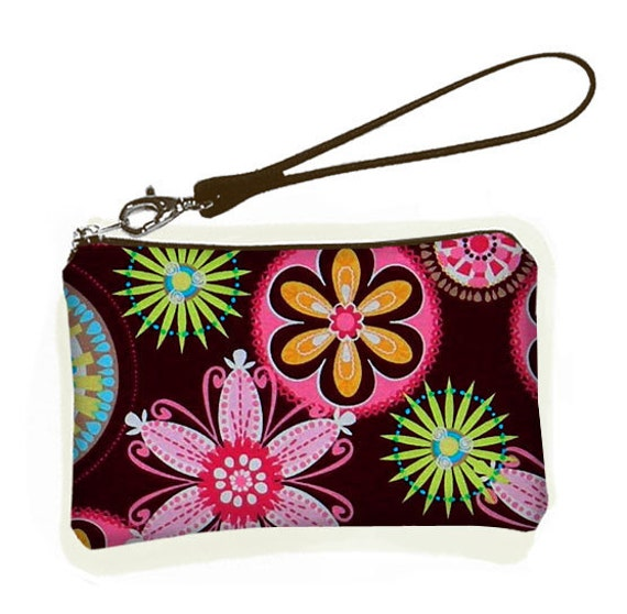 CLEARANCE Wallet Wristlet Bridesmaid Wristlet Purse Bridal Clutch Purse  Small Zipper Purse  Padded Carnival Pink Brown (RTS)