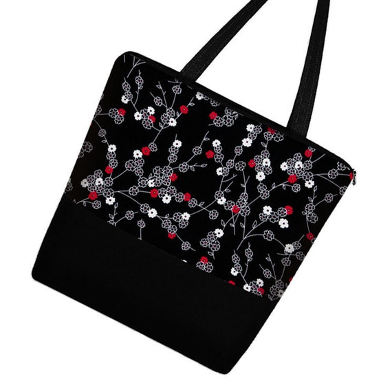Large Tote Diaper Bag Book Bag purse zipper pockets - Tiny Cherry Blossom  black white red -  In Stock
