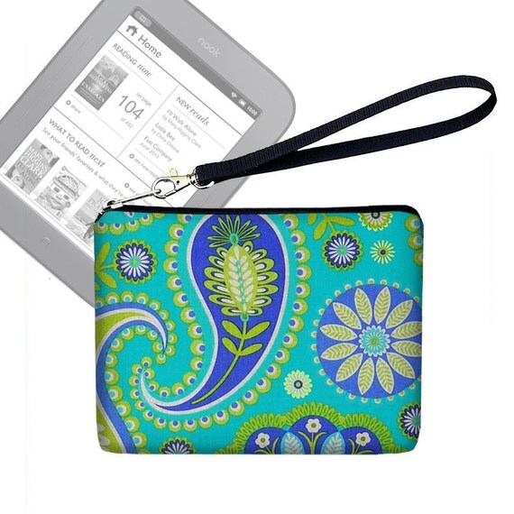 Kindle Case / Kindle 4 Case / New Nook Case /  Kindle Touch Cover / Padded eReader Case Wristlet Purse - Paisley Blue Turquoise - In Stock