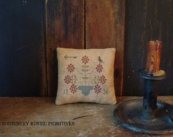 Primitive Potted Blooms Pinkeep Cross Stitch E Pattern PDF