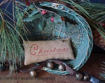 Primitive Christmas Cupboard Keep Pillow Cross Stitch E Pattern PDF