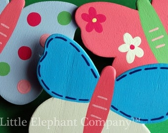set/3 Sophie Butterfly Quilt Clips - handpainted - coordinates with baby bedding sets