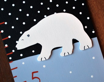Arctic Babies Wooden Growth Chart, handpainted, FREE nail cover and personalization