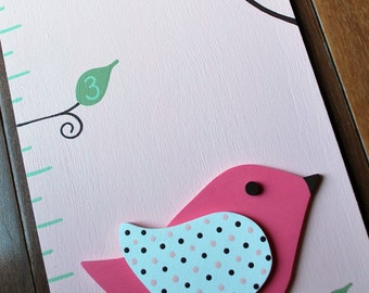 Elizabeth Birds Wooden Growth Chart in Pale Pink, handpainted, FREE nail cover and personalization