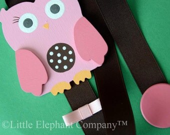 Pink Owl Hair Barrette, Clip, Clippie, Bow Holder