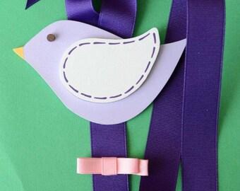 READY TO SHIP Purple Bird Hair Barrette, Clip, Clippie, Bow Holder