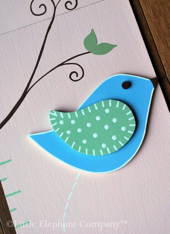 Alexandra Birds Wooden Growth Chart, handpainted, FREE nail cover and personalization