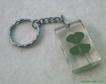 l .u .c .k .y   good luck  4 leaf clover key chain