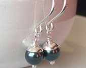 Petite acorn earrings. Swarovski Tahitian pearl and sterling silver.