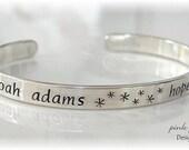 Hand Stamped Sterling Silver Cuff Bracelet ADULT in DESIGNER FONT