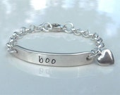 Custom Hand Stamped Sterling Silver ID BRACELET for Boy or Girl
