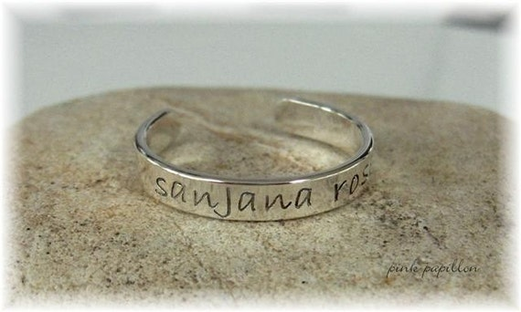 Hand Stamped Sterling Silver NAME Cuff Bracelet for Baby Infant