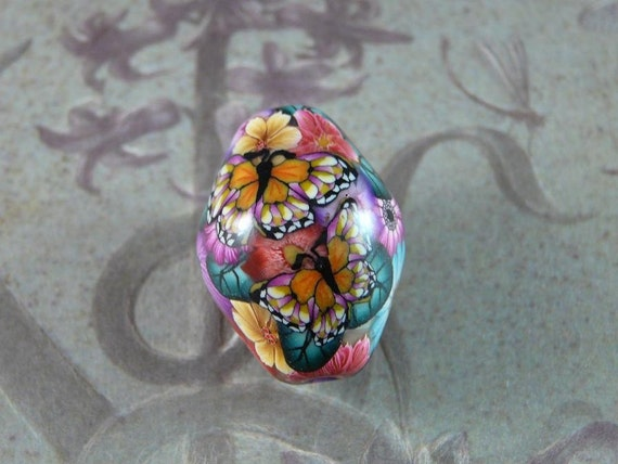 MILLEFIORI POLYMER CLAY FOCAL BEAD - FB-120 - FLORAL BOUQUET with BUTTERFLIES