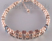 Mothers Bracelet - Custom Made - Two Names - Swarovski - Pearls - Silver - Other Styles Available