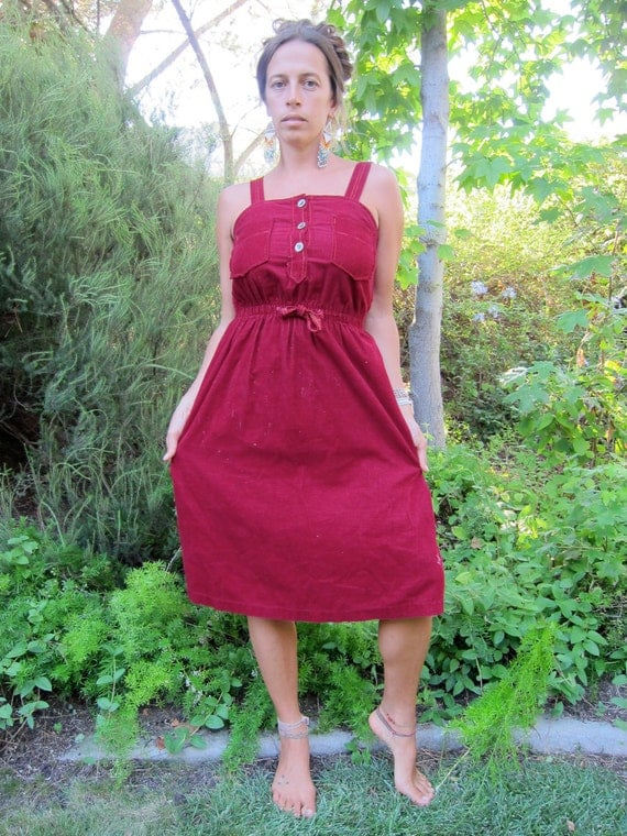 Red corduroy dress with gold buttons