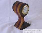 Wood Desk Clock - Walnut, Cherry and Purpleheart with Gold colored bezel