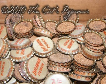 Vintage Delaware Punch Bottle Caps Unused with cork for jewelry making or altered art projects